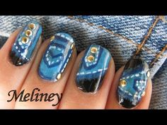 Stud nails Denim Jeans Nail Art Tutorial - Gold Trend Nail Design Sponge Technique Freehand