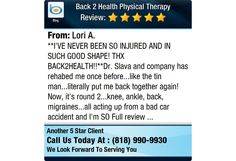 **I'VE NEVER BEEN SO INJURED AND IN SUCH GOOD SHAPE! THX BACK2HEALTH!!**Dr. Slava and...