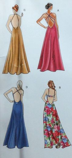 Gown Sewing Pattern  Sizes 12-20  UNCUT    Simplicity 3735    Pattern contains four variations of gown.    Envelope has some wear.    Buyer to