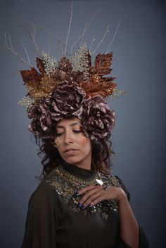 Mother Nature Earth Fall Autumn Headdress Copper Gold Brown Maple Leaves Goddess Headpiece Green Man Large Flower Forest Leaf Costume