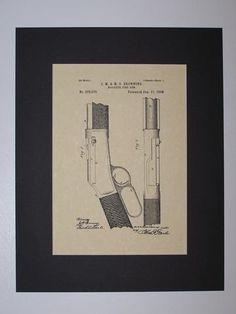 Browning Magazine Fire Arm 1888 Patent drawing HistoricPatentArt.com Gun