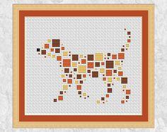 Dog cross stitch pattern modern geometric cross stitch