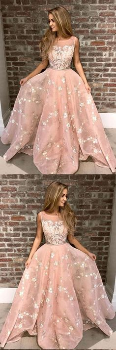 Stylish A-Line Round Neck Pink Prom Dress with Lace Appliques Online OKA44 #pink #aline #lace #appliques #long #prom #okdresses #promdresses