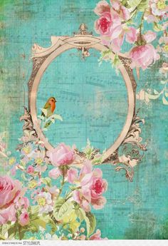 Blue paper with music gilded frame, roses top and bottom.