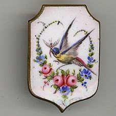 19th c. handpainted porcelain button. Unusual plaque shape.