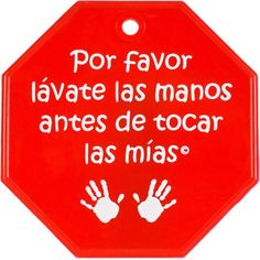 My Tiny Hands Spanish Please Wash Sign, Red