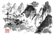 #fall #sumi-e #mountains #japan Sumi E Painting, Moose Art, Poster Prints, Japan, Bird, Metal, Canvas, Beautiful, Cinema