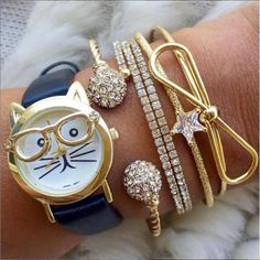 neerdy cat watches, Stylish watches with bracelets http://www.justtrendygirls.com/stylish-watches-with-bracelets/