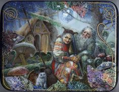Maslov Vlad lacquer box, Baba-Yaga and Leshiy (goblin of the woods)