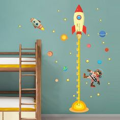 diy Outer space Planet Monkey Pilot Rocket home decal height measure wall sticker for kids room baby nursery growth chart