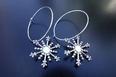 Silver Snowflake Hoop Earrings by BeadingforChange on Etsy
