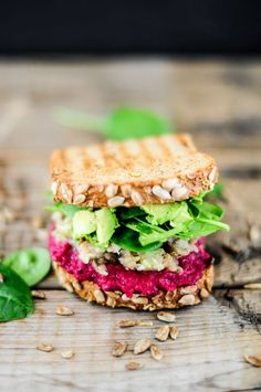 Beetroot, babaganoush and avocado-lime sandwich