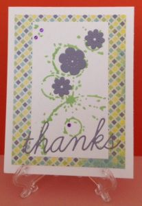 Thank you card using Memory Box Texture Drip Rings stencil with texture paste.