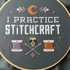 I Practice Stitchcraft Gothic Cross Stitch Pattern Wiccan Funny Embroidery, Embroidery Patterns, Hand Embroidery, Cross Stitch Kits, Cross Stitch Designs, Cross Stitch Patterns, Cross Stitching, Cross Stitch Embroidery, Gothic Crosses