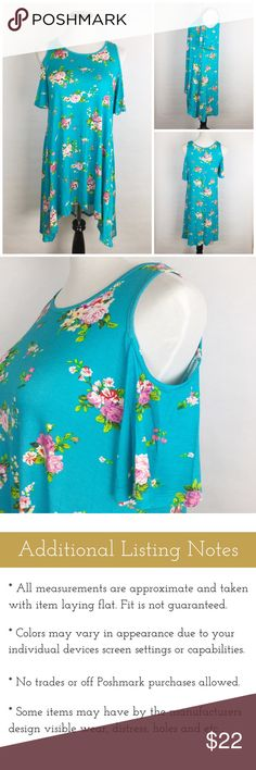 "Cold Shoulder Floral Tunic Beautiful springtime cold shoulder floral tunic. Features beautiful roses on a vibrant blue background, cut out shoulders and a handkerchief hem. 96% Rayon and 4% Spandex. Laying Flat: Longest 37"" L, Shortest 32"" L x 17"" Bust x 21"" Waist. Made in USA. Boutique Tops Tunics"