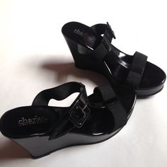 "Black Comfy Wedges Black patent leather and elastic 3"" wedges. Cute buckle detail. Great for summer! Charles David Shoes Wedges"