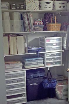 Elfa shelving (Container Store) in craft closet for scrapbooking supplies