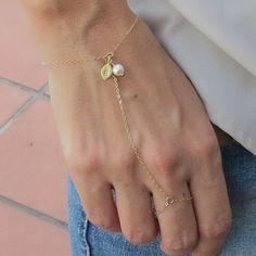 Personalized Slave Bracelet, gold filled, delicate chain bracelet, stamped leaf hand chain bracelet, finger bracelet