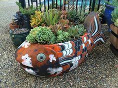 Giant Fish, Jungle Gardens, Koi, Planter Pots, Chock Full, Decor Ideas, Succulents