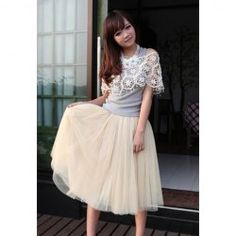 Charming Ladylike Solid Color Layered Voile Skirt For Women