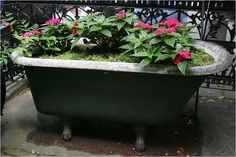 Clawfoot tub planter...planted mine with Alysum and ornamental cabbage. Just might detor Keith from taking outdoor baths