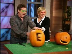 Steve Spangler on The Ellen Show November 2007: pulling a table cloth out from under the setting (inertia); liquid nitrogen; and exploding jack-o-lanterns