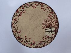 Candle Mat Hand Painted Canvas 9 Inch Red Berry by cherylweaver