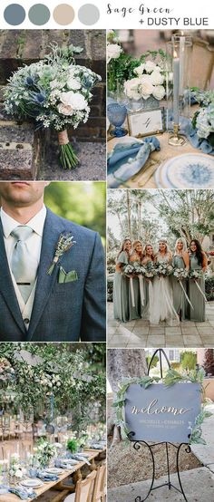 greenery wedding sage green and dusty blue wedding color ideas for So 2020 brides, who's planning a fall wedding? The charm of a fall wedding is seemingly unbeatable. The cool autumn breeze is a wonderful alternative. Sage Green Wedding, Lilac Wedding, Fall Wedding Colors, Wedding Color Schemes, Spring Wedding, Wedding Bouquets, Dream Wedding, Wedding Dresses, September Wedding Colors