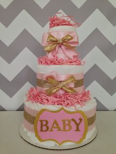 Modern Baby Girl Gold and Pink Diaper Cake, Baby Shower Centerpiece on Etsy, $45.00