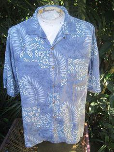 0408a1b1 HAWAIIAN Aloha SHIRT XL pit to pit 25 TOMMY BAHAMA silk blue w tropical  floral #