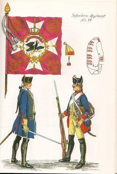 Prussia; Infantry Regiment Nr.19, c.1750 by G.Donn