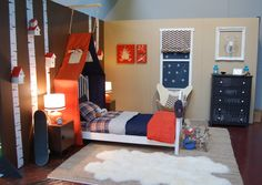 Walls are painted w/ those colors... Wondering how I'd make that tent over the headboard :/