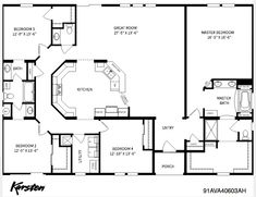 4 bed/3 bath; split plan-Barndominium Floor Plan