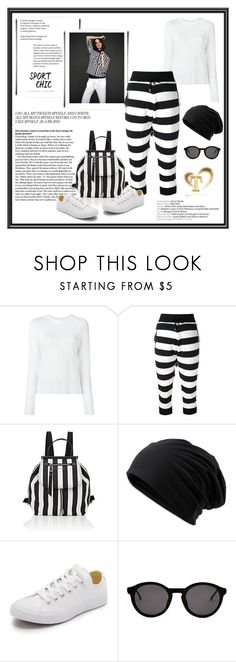 """""""Sport Chic"""" by gasteovska-t ❤ liked on Polyvore featuring pureDKNY, UNCONDITIONAL, Marc Jacobs, Converse, Thierry Lasry, StreetStyle, stripes, sporty, stripedpants and summer2017"""