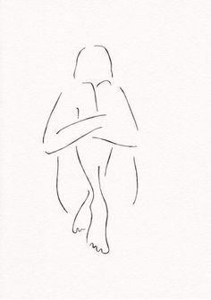 Original minimalist ink drawing of a nude figure is A4 size (21x29.7 cm / 8.3 x 11.7). The artwork is hand drawn with ink pen on white watercolor paper.