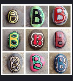 SNS DESIGNS creative lettering hand painted stones B