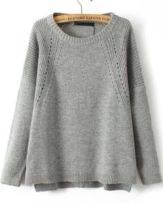 grey vintage knit | loose sweater | long sleeve