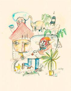 Serie Neverland, Home Sweet Home Artista: Juan Pablo Baene  Rotulador y acuarela sobre papel nostalgia de 190 gr  Obra única  Medidas: 35.5 x 27.5 cm