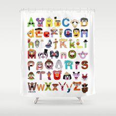 Sesame Street Alphabet Shower Curtain Bathroom Kids Bathrooms Baby Booties Little People