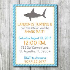Shark birthday party or pool party invitation 1500 via etsy shark birthday party or pool party invitation 1500 via etsy party ideas pinterest pool party invitations and party invitations filmwisefo Images