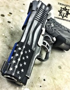 Kimber MCU Thin Blue Line Stars and Stripes Battleworn Cerakote. Photo by Twin State Hydrographics Weapons Guns, Guns And Ammo, Revolver, Custom Guns, Fire Powers, Cool Guns, Thin Blue Lines, Airsoft, Tactical Gear