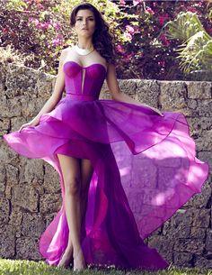 Pink Silk  dress, custom Magenta-Pink Strapless Key Hole dress.. For Custom Orders contact Paul at edelascasas@aol.com