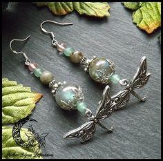 Boucles d'oreilles libellules, Labradorite, Aventurine, Quartz cerise, Argent 925, ° Envole protecteur ° : Boucles d'oreille par atelier-bijoux-legendaires