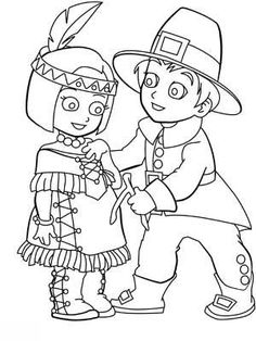 Indian Girl And Pilgrim Boy Coloring Page