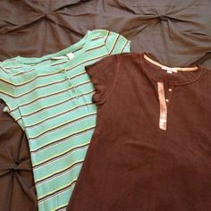 Bundle of cute tees Bundle of slim fit tees. Brown tee with glitter sequin detail on button snaps at top. Striped tee is Aeropostale- turquoise/Tiffany blue with navy and lime accent stripes. Both Junior size L- fit like a women's xs/s. Aeropostale Tops Tees - Short Sleeve