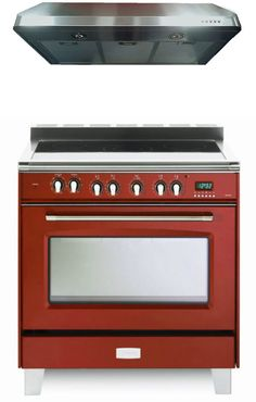 """Verona Classic VCLFSEE365R 36"""" Electric Range 5 Elements Single Oven - Gloss Red. The multi-function convection oven provides seven cooking modes to prepare your meals faster, and in less time than a conventional oven. 