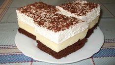 Krémové tříbarevné řezy s nadýchanou šlehačkou a čokoládou! Cake Bars, Something Sweet, Vanilla Cake, Nutella, Tiramisu, Food And Drink, Cooking Recipes, Sweets, Cookies