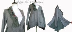 Ruffle Neck Cardigan S/M by RebeccasArtCloset on Etsy