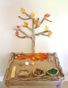 Here's an easy fall activity for kids to set up in the classroom or right at home- Under the Fall Tree Small World! This fall themed play invitation inspired all kinds of creative play!