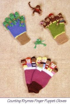 Knitting Pattern for Counting Rhymes Finger Puppet Gloves - Makes three types – five little speckled frogs, five little monkeys or ten in the bed. Little frogs and monkeys can be knitted as part of the gloves or as individual finger puppets. Two sizes – Ages 3-5 and large adult. Designed by Sandra Polley